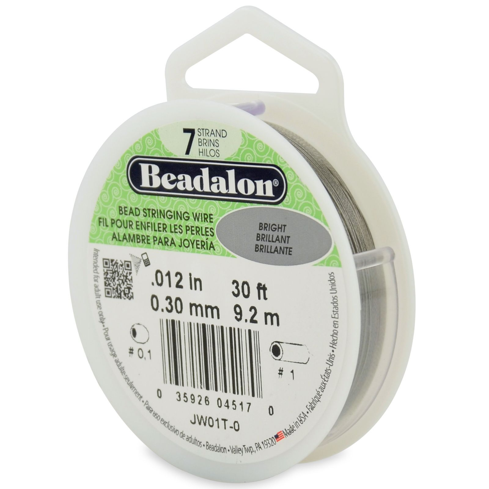Beadalon Bead Stringing Wire. 30 FT Spool. Color is BRIGHT Sizes.010 ...